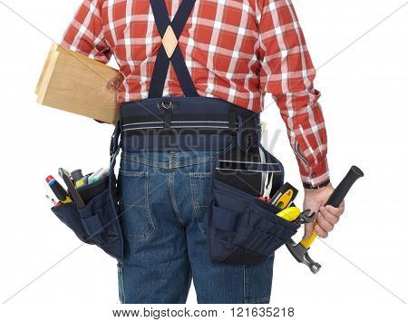 Man builder with construction tools.