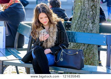 Female With Iphone