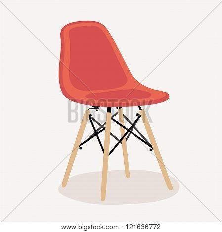 Red plastic chair  with wooden legs