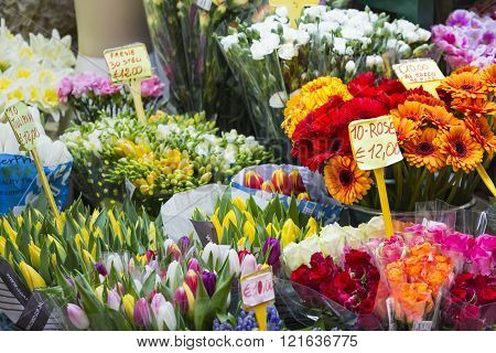 Flowers At A Flower Market In Milan, Italy