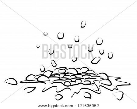 Pile Of Smashed  Ground, Heap Of Soil - Vector Silhouette Illustration Isolated On White Background.