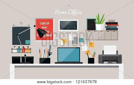 Flat home office interior illustration with desktop