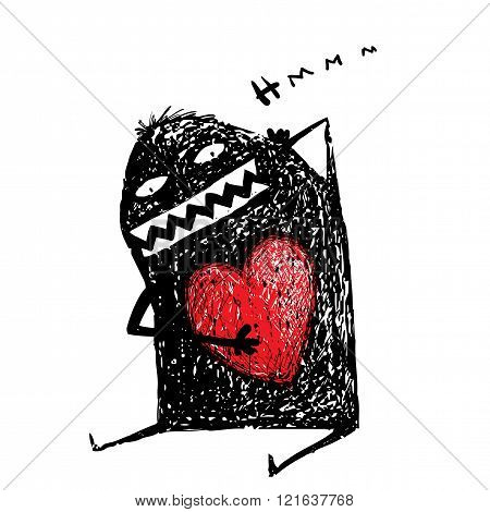 Cartoon fun amasing character scribble love with red heart inside.