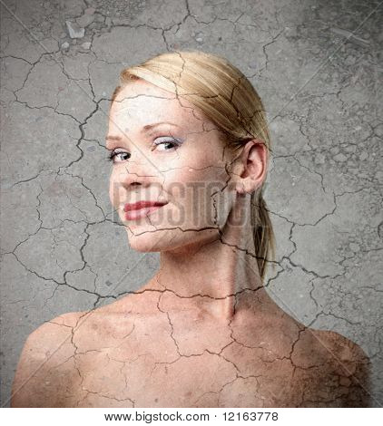 Smiling woman on crackled background