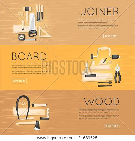 Composition with tools carpentry joinery products on a wooden table top view. Home renovation, repai