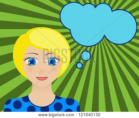 Smiling woman face. Manga style. Comic girl with speech bubble for your text. Blond hair and blue e