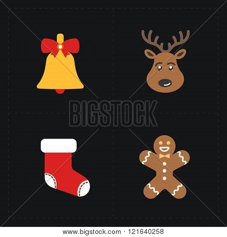 Christmas color icons collection - vector illustration.