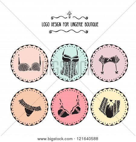 Collection of lingerie logo design. Hand drawn lingerie badge isolated on white