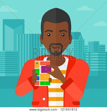 Man with modular phone.