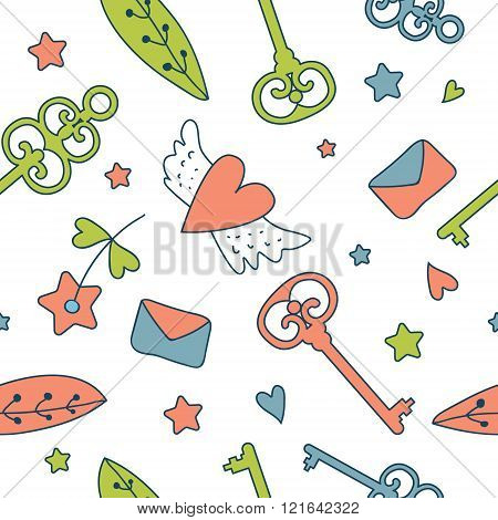 Seamless Vector Floral Pattern Isolated On White Cute Keys, Lett