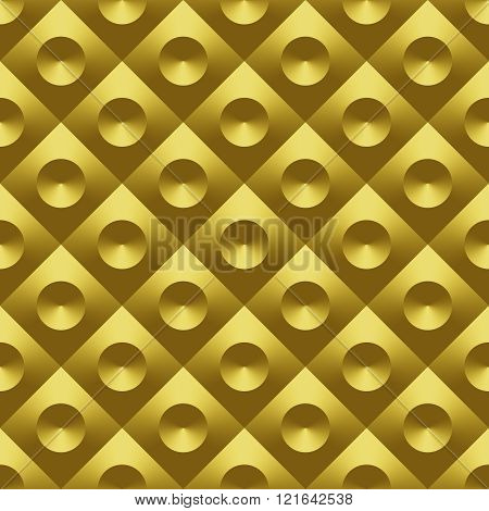 Gold Metal 3D Raster Seamless Pattern
