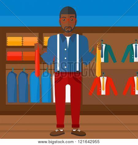 Customer choosing neckties.