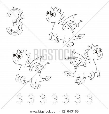 Illustrated worksheet. Learn handwriting. Page to be colored. Tracing worksheet for figure Three