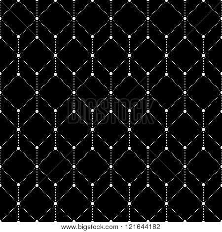 Vector seamless pattern. Modern stylish monochrome texture. Regularly repeating geometrical pattern with dotted hexagons rhombuses. Abstract seamless background