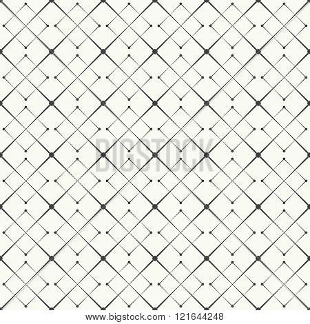 Seamless pattern. Modern stylish texture with linear grids. Regularly repeating geometric tiles with rhombuses lines dots. Vector element of graphical design