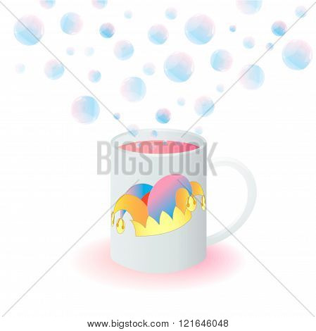 Mug With A Jester's Hat And Magic Bubbles