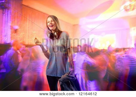 Smiling beautiful woman at a party