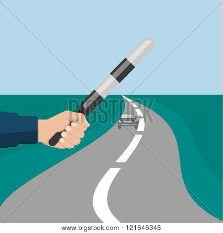 The police officer's hand holding a striped staff. The car on the twisting road. Vector illustration.