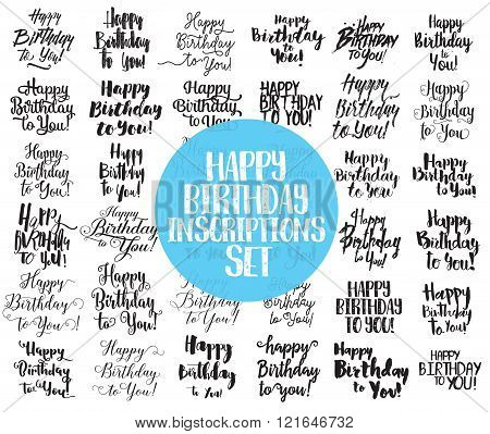 Happy Birthday to You inscriptions set. Hand drawn lettering. Calligraphy,