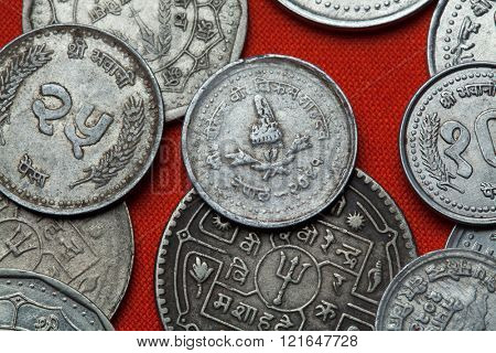 Coins of Nepal. Nepalese royal crown depicted in the Nepalese five paisa coin.