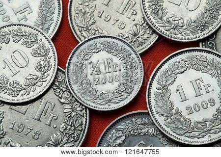 Coins of Switzerland. Swiss half franc coin.