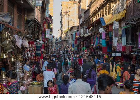 Kathmandu, Nepal - October 16, 2014: Busy shopping street in Thamel district.