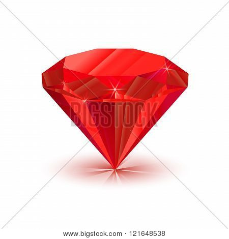 Rrealistic bright shiny ruby isolated on white