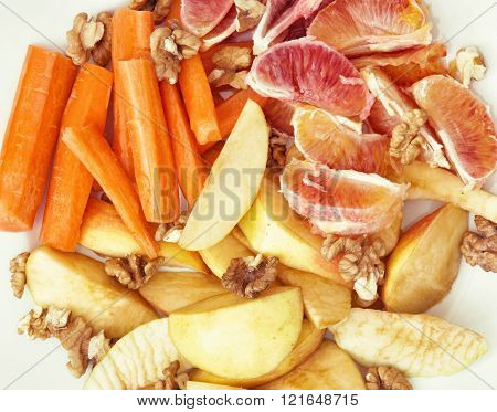 Sliced Carrots, Apple, Grapefruit, Oranges And Walnuts, Fruit Theme