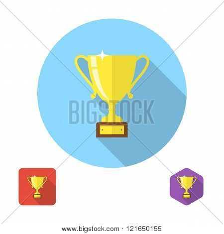 Winner Cup Icon Vector. Set Icons Flat Design, Long Shadow.