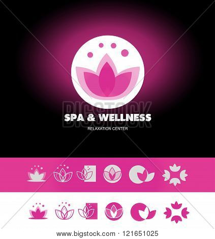 Spa Wellness Lotus Flower Logo Icon