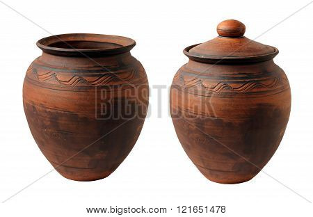 Clay Pot With A Cover On The White Background.