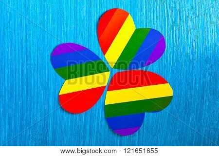 Paper heart symbol colors of the rainbow. Homosexual relationships