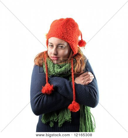 Woman freezing in winter clothes