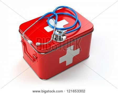First aid kit with stethoscope isolated on white. 3d