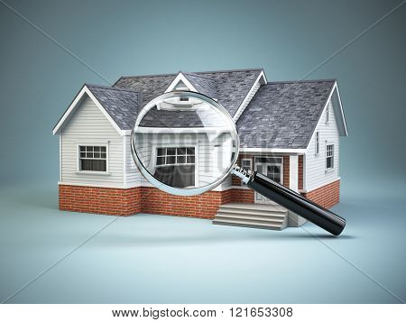 House and loupe magnifying glass. Real estate searching concept. 3d