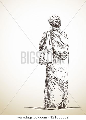 Sketch of standing woman in sari, Hand drawn illustration