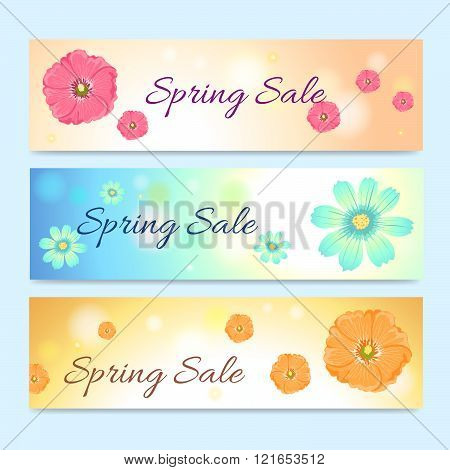 Set Of Colorful Spring Season Sale Banner In Vertical