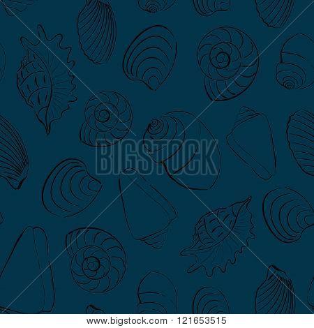 Seashells blue seamless background