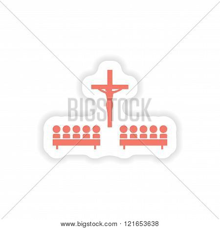 paper sticker on white background crucifixion and people