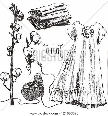 Cotton cultivation, production and using, art drawings