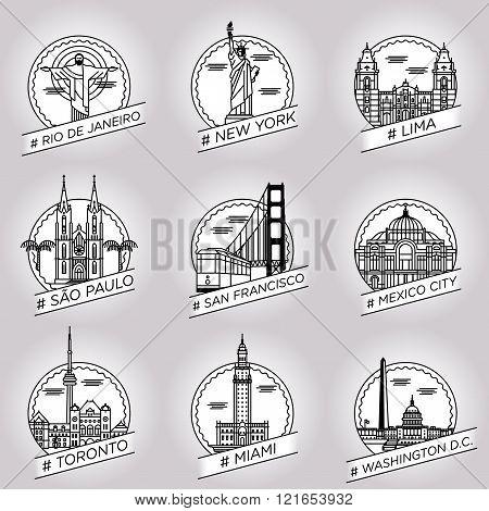 vector line rio de janeiro, new york, lima, saoo paulo, san francisco, mexico city, toronto, miami,