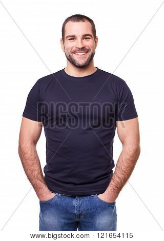 Smiling man in a black t-shirt isolated on white