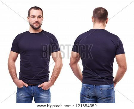 Handsome Man In Black T-shirt On White Background