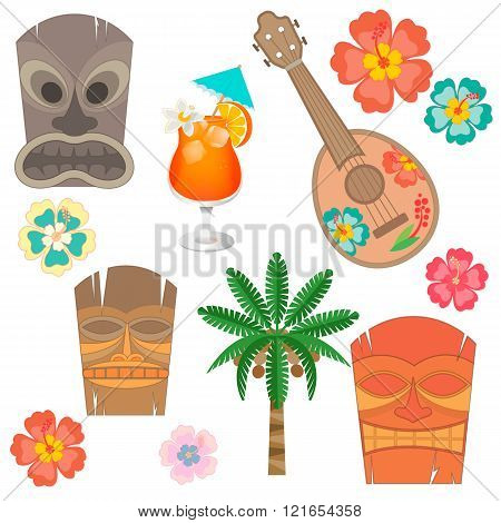 Set Hawaii Simbols And Accessories.