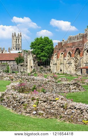 Ruins Of  St.augustines Abbey With Canterbury Cathedral In The Background, England