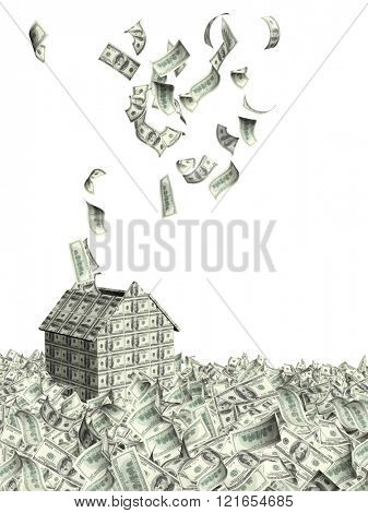 House from dollars banknotes and many flying dollar banknotes. Isolated on white background