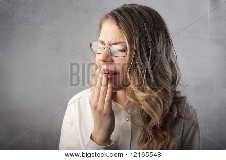 Young woman gaping