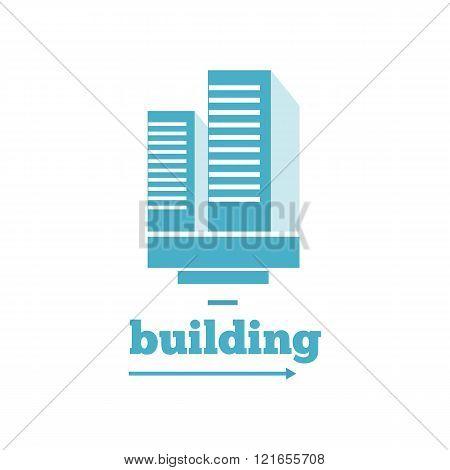 Building Logo Sign Design Flat