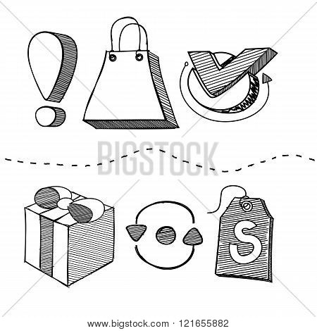 Hand Drawn Shopping Element Design