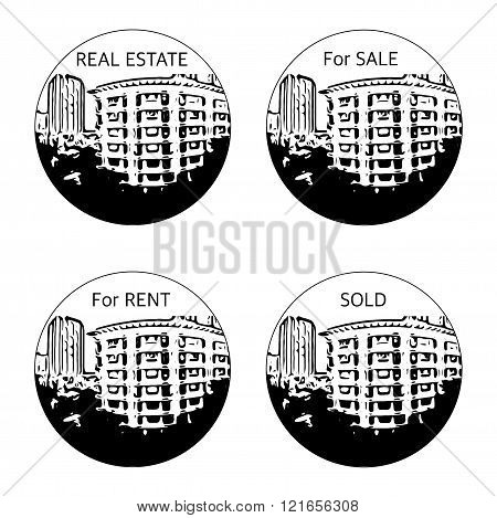 Black And White Real Estate Agent Logo In Clipping Mask